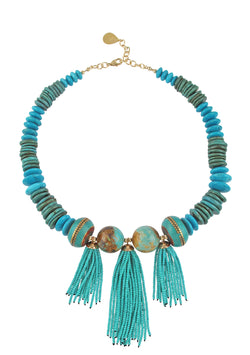 Turquoise Slab Tassel Necklace