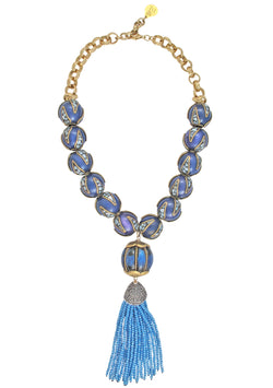 Blue Abalone Tassel Necklace