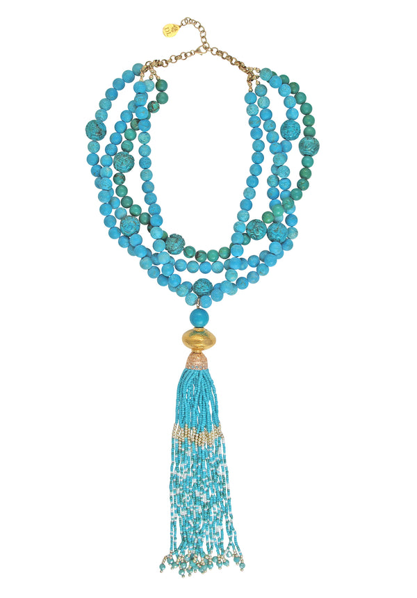 Matte Turquoise Multi-Strand Tassel Necklace