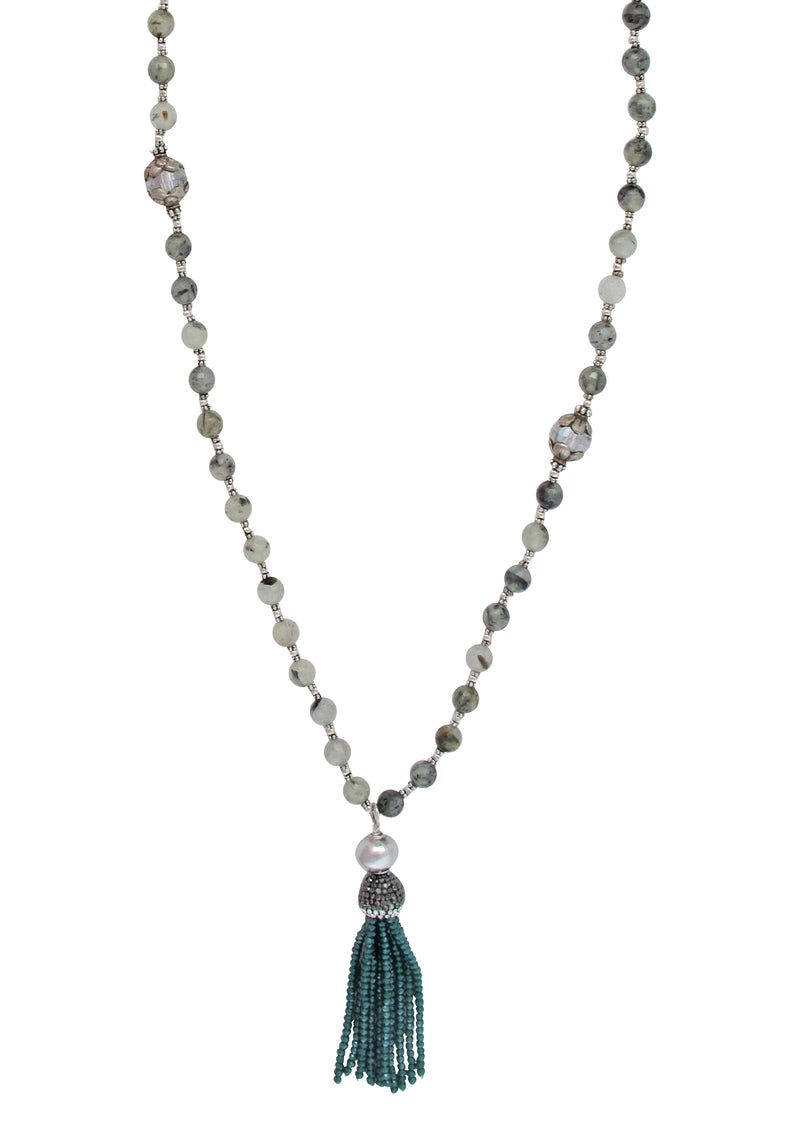 Green Quartz Crystal Tassel Necklace