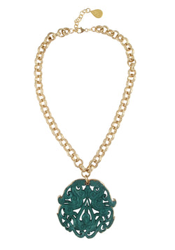 Green Jade in Gold Foil Pendant Necklace