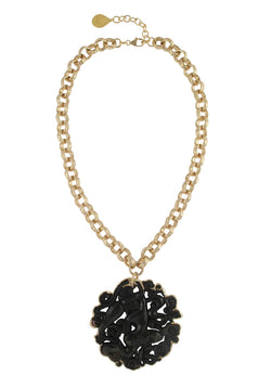 Black Jade in Gold Foil Pendant Necklace