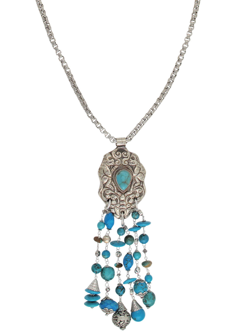 Ethnic Brass and Turquoise Pendant Necklace