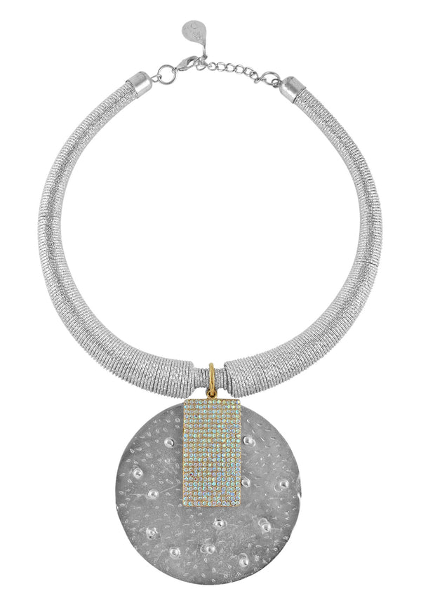 Rhodium Medallion Necklace