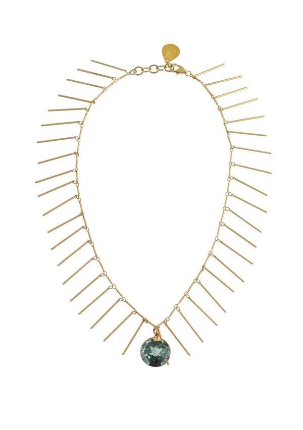 Blue CZ Gold Fringe Necklace