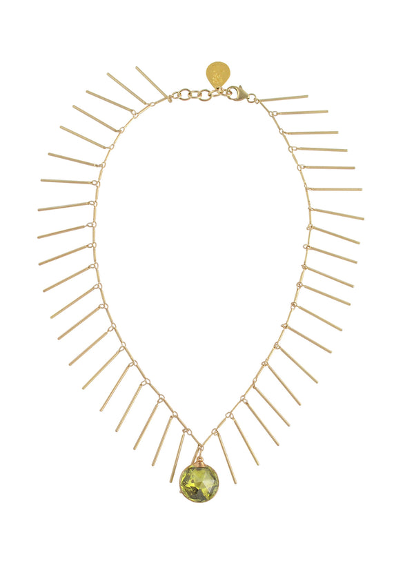 Lemon CZ Gold Fringe Necklace