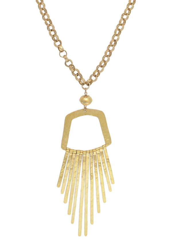 Long Gold Fringe Pendant Necklace