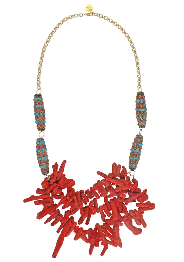 Up and Down Red Coral Ethnic Necklace