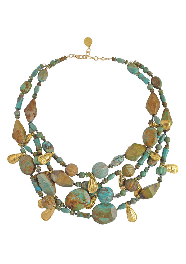 Multi Strand Turquoise Gold Accent Necklace