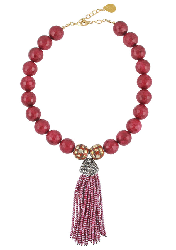 Ruby Jade Crystal Tassel Necklace
