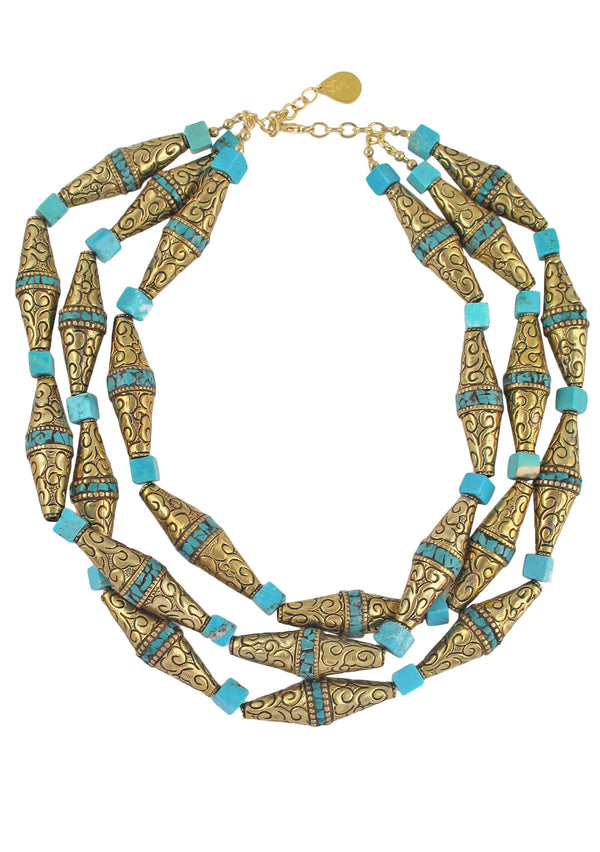 Multi Strand Brass and Turquoise Necklace