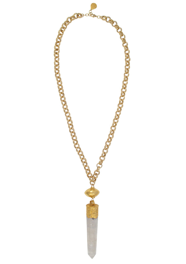 Large Quartz Spike Gold Pendant Necklace