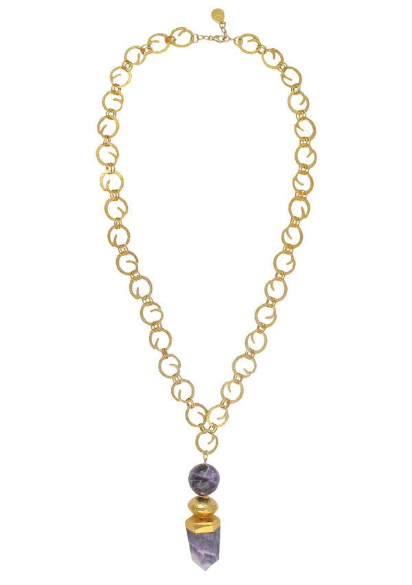 Amethyst Spike Gold Pendant Necklace