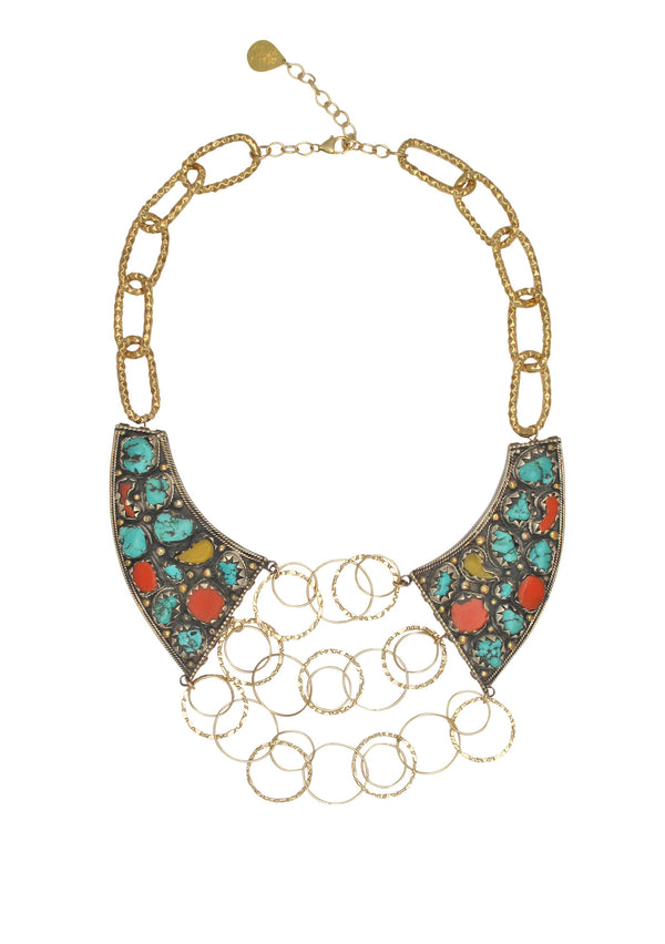 Turquoise Coral Jade Ethnic Necklace