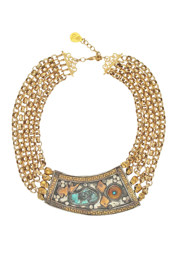 Antiqued Medallion Multi Strand Gold Necklace