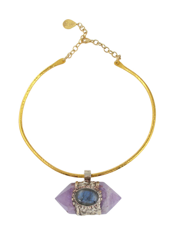 Devon Leigh Handmade in the USA Amethyst statement necklace with Gold bar chain.