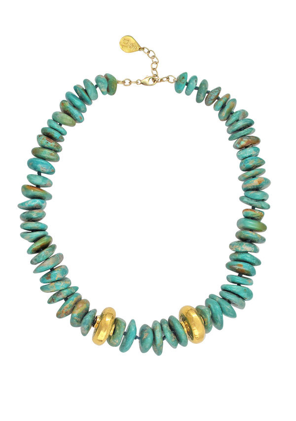 Turquoise Slab Gold Accent Necklace