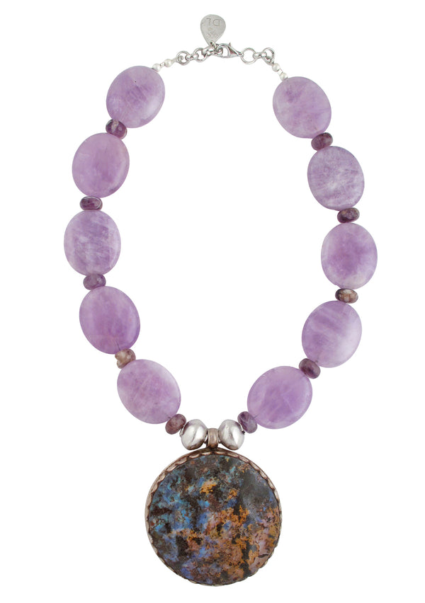 Devon Leigh unique, handmade Amethyst statement necklace with authentic Australian Opal pendant.