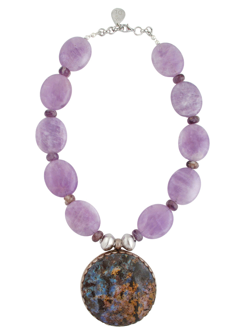 Devon Leigh unique, handmade Amethyst Australian Opal Pendant Necklace