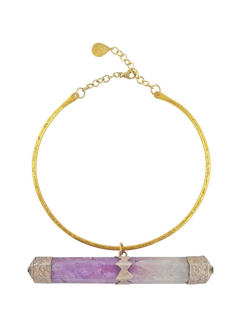 One of a Kind Amethyst Pendant Bar Necklace