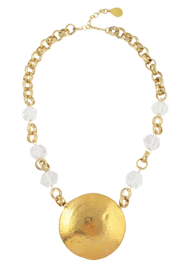 Clear Quartz Gold Medallion Necklace