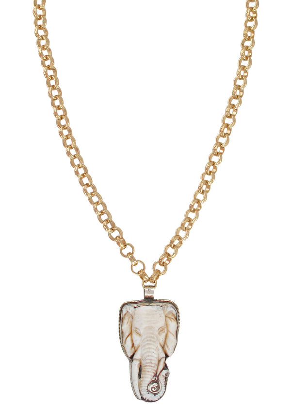 Carved Elephant Ethnic Pendant Necklace