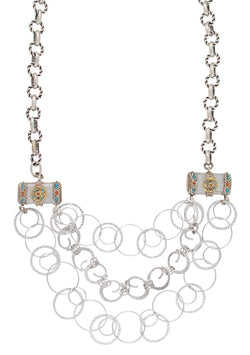 Multi Strand Rhodium Ethnic Accent Necklace