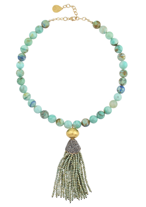 Chysoprase Gold Accent Green Tassel Necklace