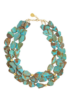 Turquoise Slab Multi Strand Gold Accent Necklace