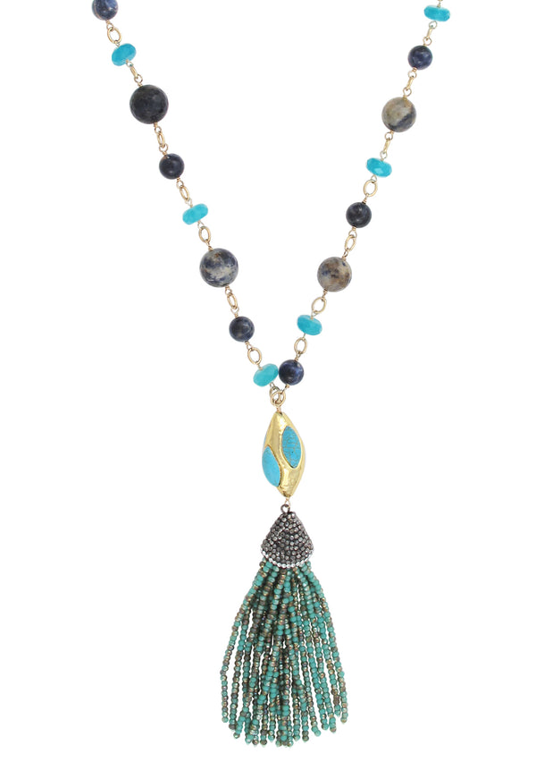 Turquoise Gold Accent Blue Station Crystal Tassel Necklace