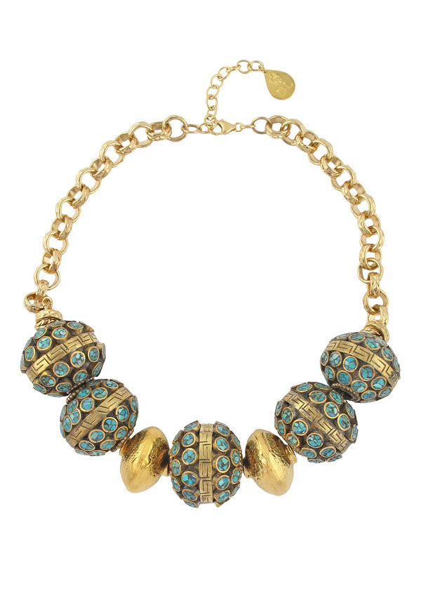 Ethnic Turquoise and Brass Gold Accent Necklace