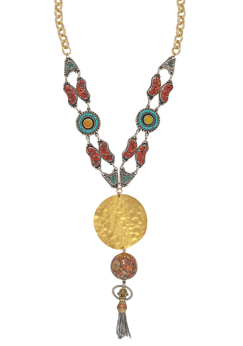 Ethnic Coral Turquoise Gold Medallion Tassel Necklace
