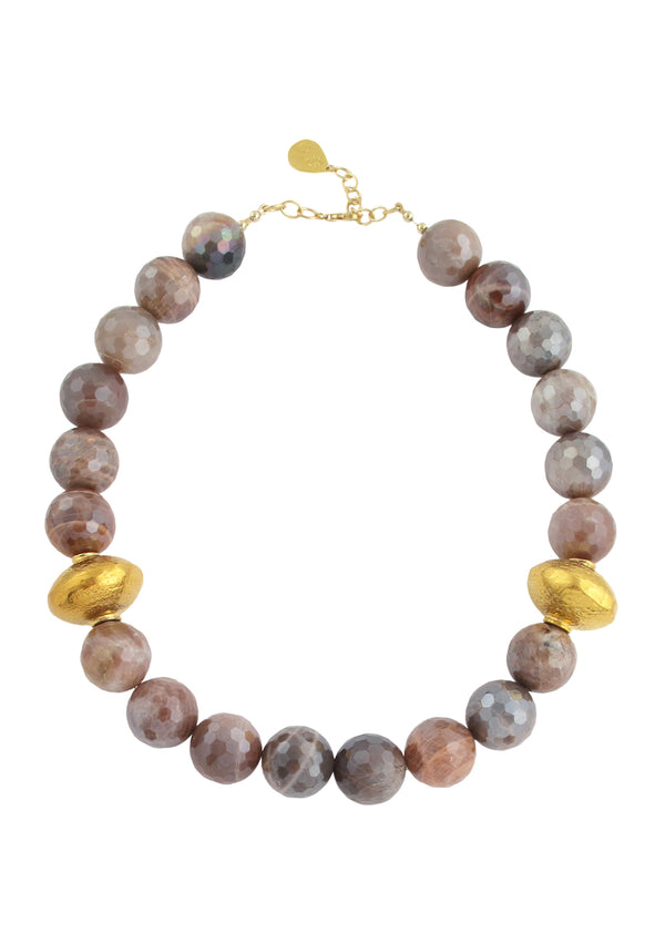 Orange Moonstone Gold Accent Necklace