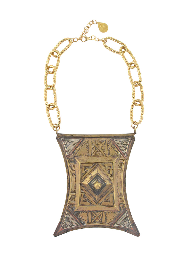 Antiqued African Pendant Necklace
