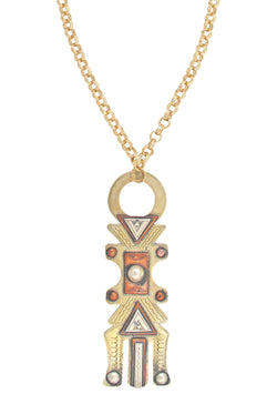 Stunning Brass African Pendant Necklace