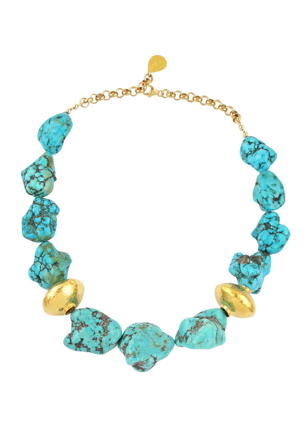 Turquoise Nugget Gold Accent Necklace