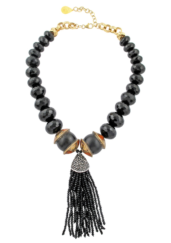 Black Onyx Ethnic Accent Bead Black Tassel Necklace