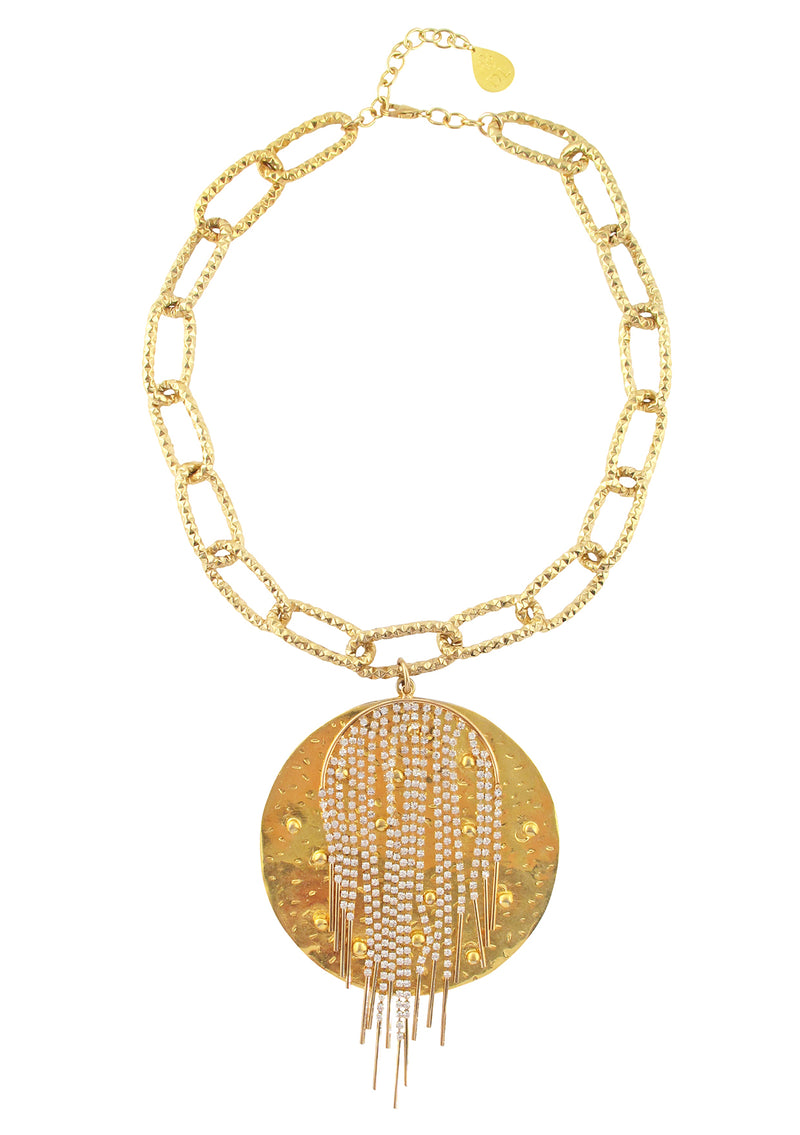 One of a Kind Gold Medallion Crystal Fringe Necklace