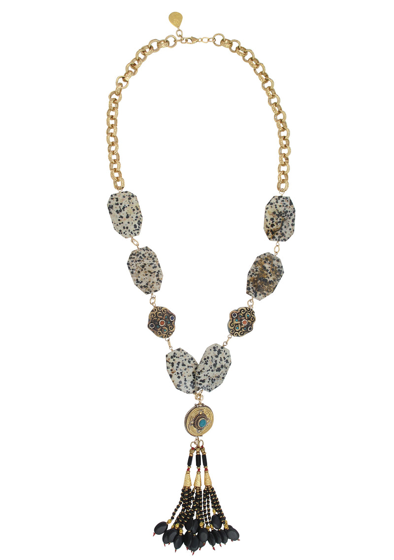 Dalmatian Jasper Ethnic Tassel Necklace