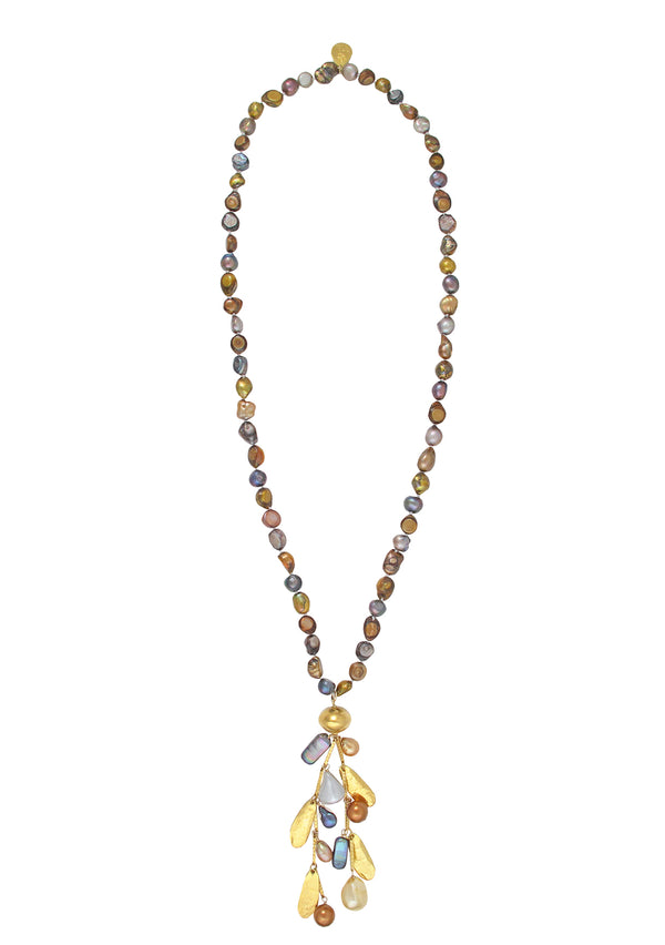 Multicolor Freshwater Pearl Gold Leaf Cluster Necklace