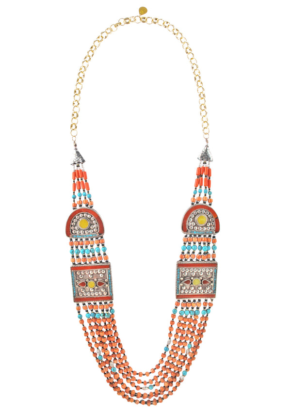 Multi Strand Coral Ethnic Necklace