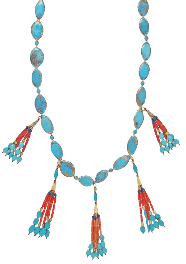 Copper Infused Turquoise Coral Tassel Necklace