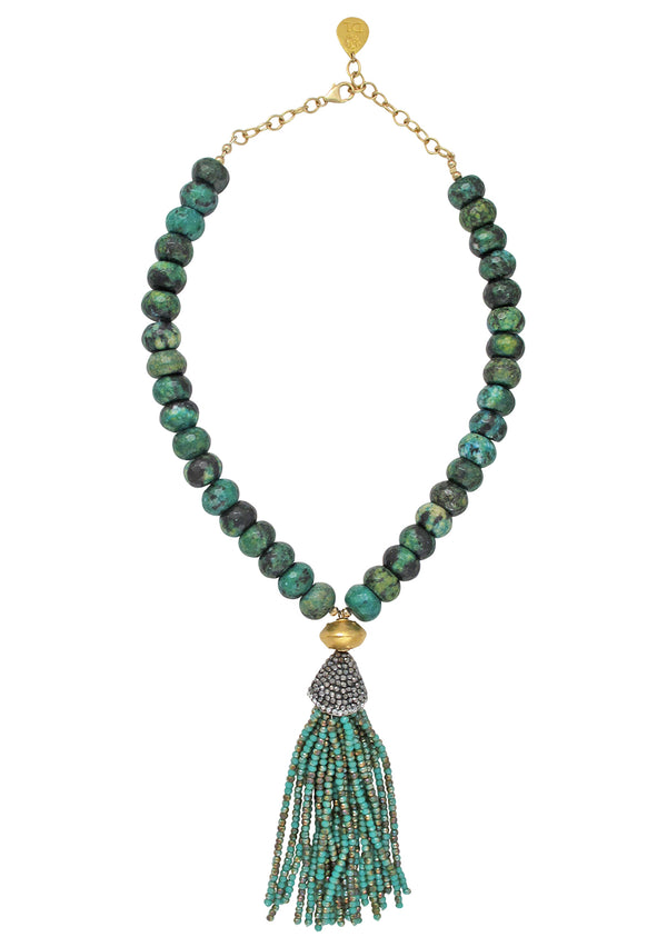 Chrysocolla Turquoise Crystal Tassel Necklace