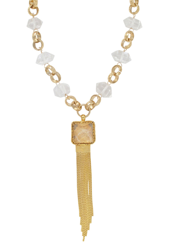 Limited Edition Clear Quartz Gold Fringe Pendant Necklace