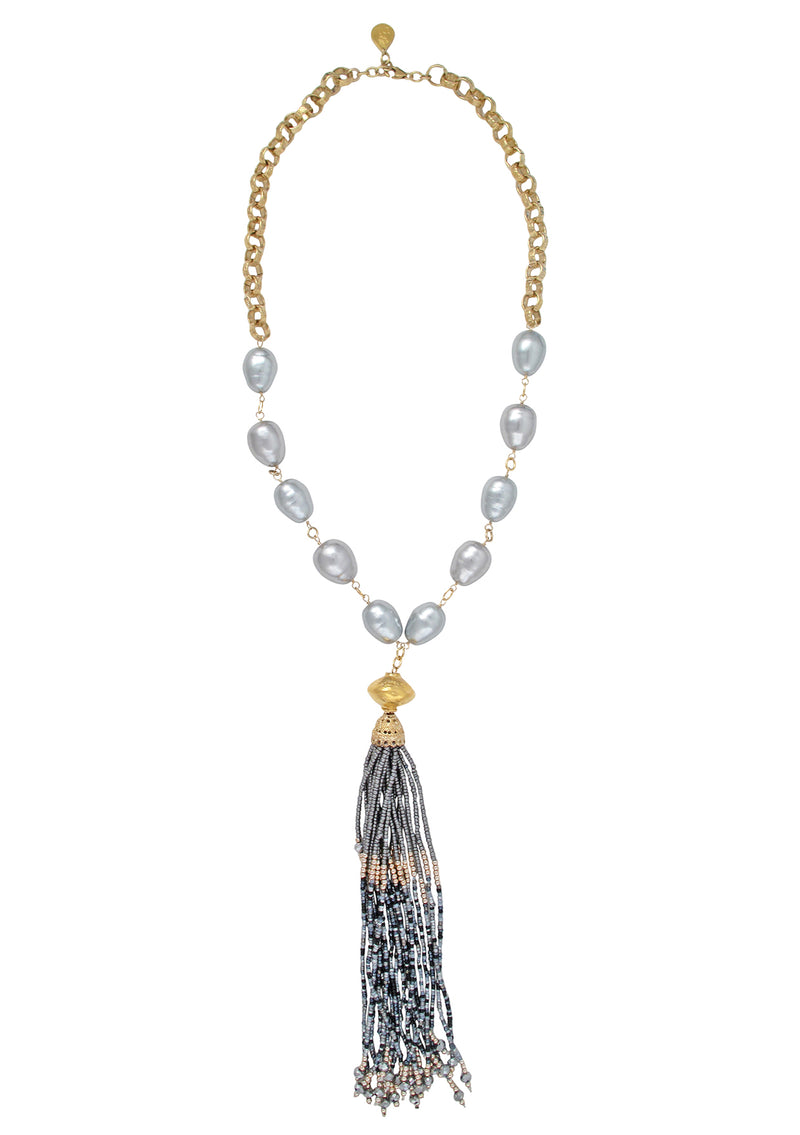 Gray Shell Pearl Tassel Necklace