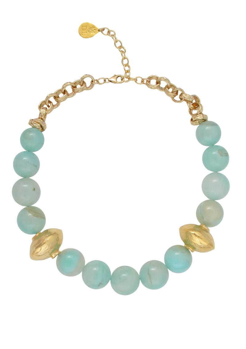 Aqua Chalcedony Gold Accent Necklace