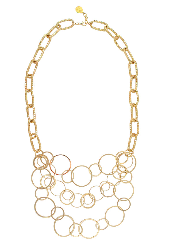 Multi Strand Gold Bubble Chain Necklace