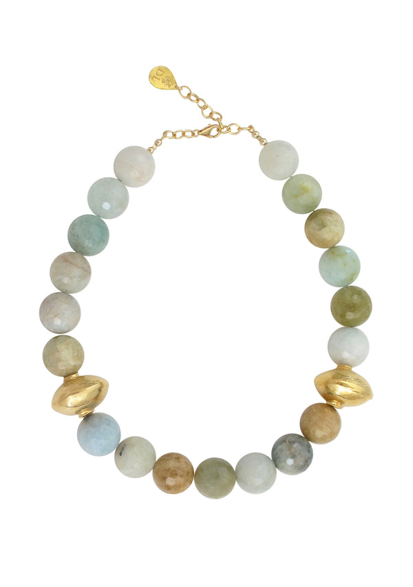 Aquamarine Gold Accent Necklace