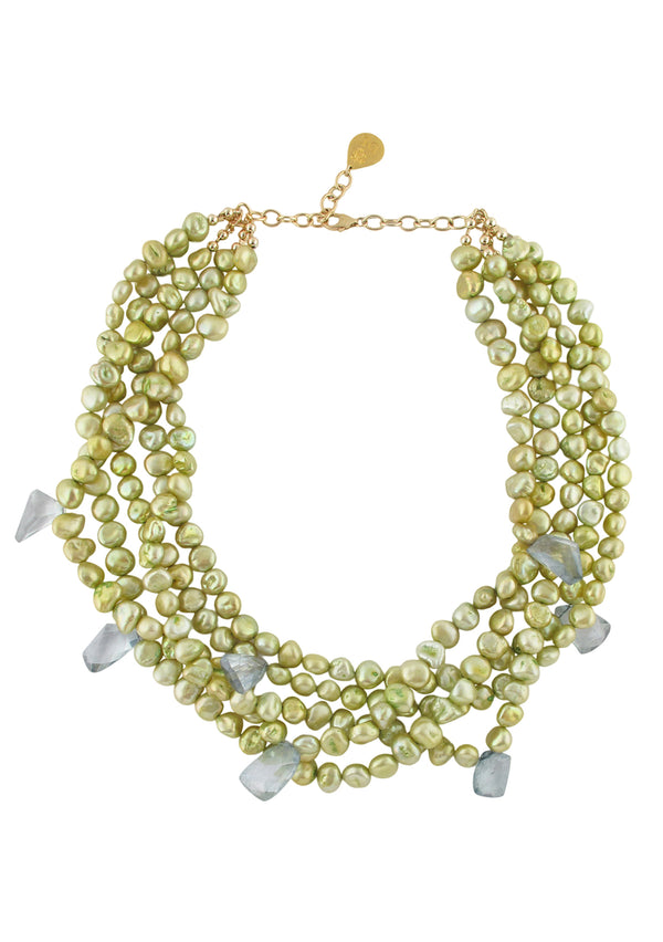 Lemon Freshwater Pearl Blue Iolite Multi-Strand Necklace