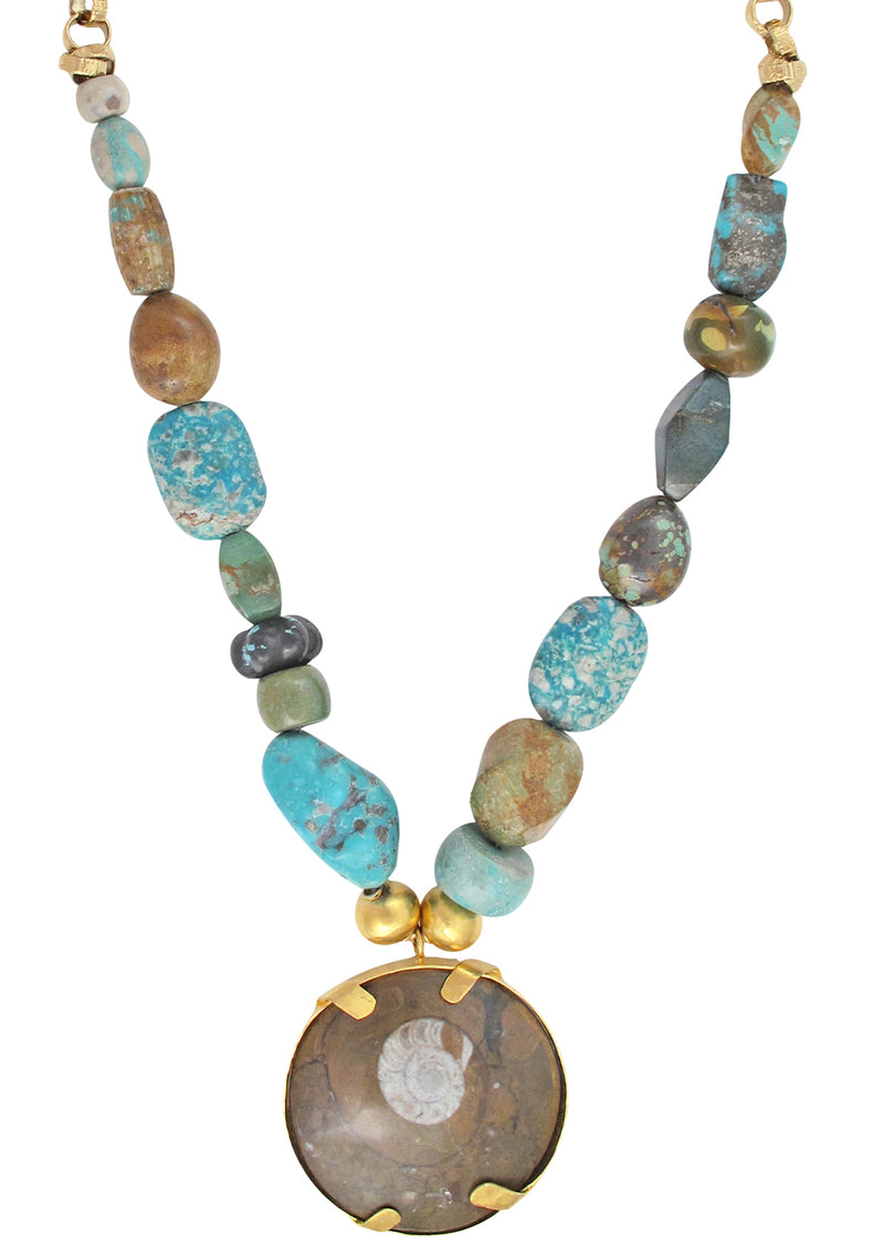 One of a Kind Natural Turquoise Fossilized Shell Necklace